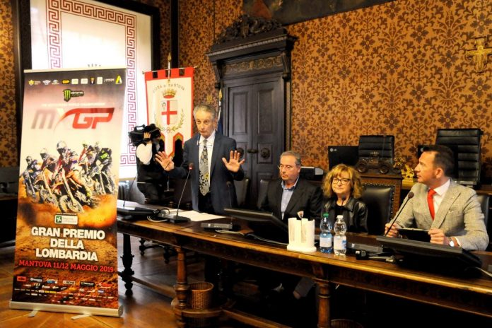 Il tavolo dei relatori alla conferenza stampa del Gp della Lombardia