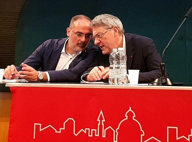 Il segretario provinciale Cgil Daniele Soffiati col segretario nazionale Maurizio Landini