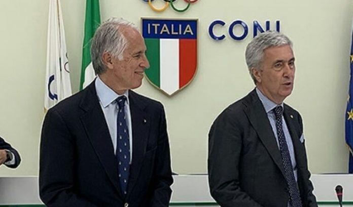 Giovanni Malagò (Coni) e Cosimo Sibilia (Lnd)