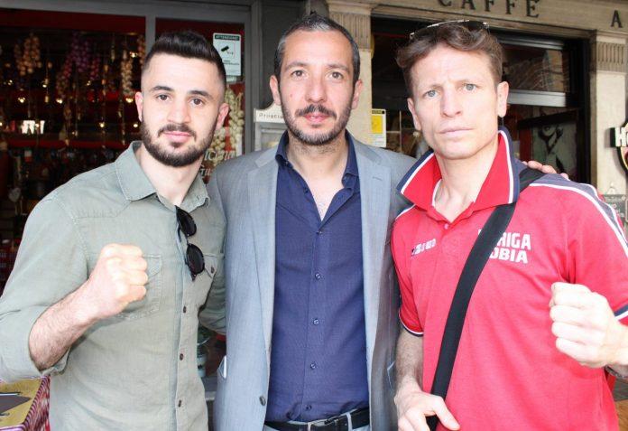 Il procuratore Ventura con i due campioni italiani Arblin Kaba (superleggeri) e Tobia Loriga (welter)
